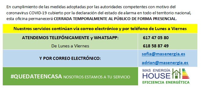 Info COVID19 - Mas Energia House